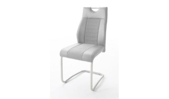 Set van 4 stoelen met handvat Tito - kunstleer - grijs