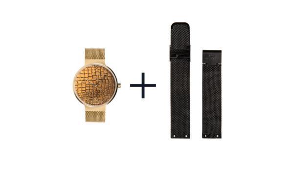 Dresselberg AVERY gouden kast / twee bandjes: goud + zwart