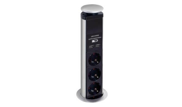 Pop-up stopcontact 3-voudig & 2x USB, 2x