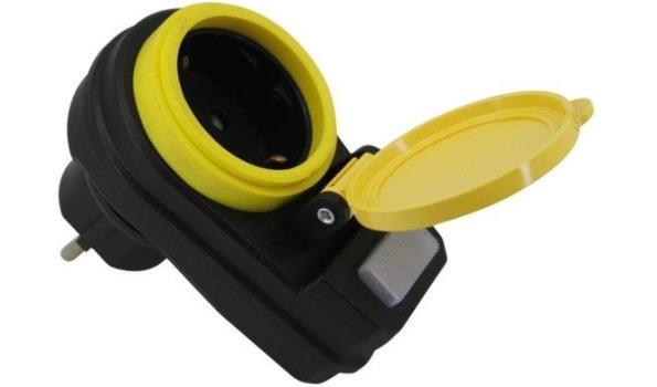 Stopcontact randaarde met schakelaar, spatwaterdicht, 3x