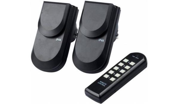 Stopcontact met afstandsbediening, voor buiten, 2x