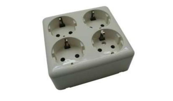 WCD Opbouw Stopcontact, viervoudig, 10x