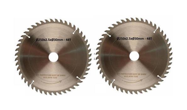 Cirkelzaagblad 250 mm, 48 tanden, 2x