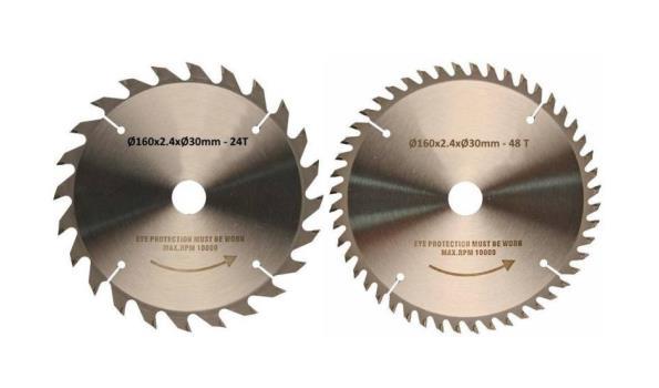 Cirkelzaagbladset 2 delig 160 mm, 1x 24 & 1x 48 tanden