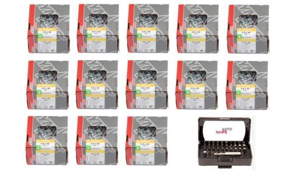 Dynaplus gereedschapsbak gevuld met 2600 schroeven 4x40 & 32 delige bitsset
