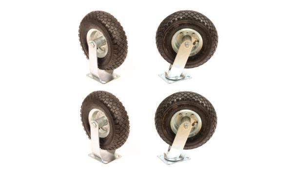 Set met 4 stuks zwenk/bokwielen 300x4 op luchtbanden
