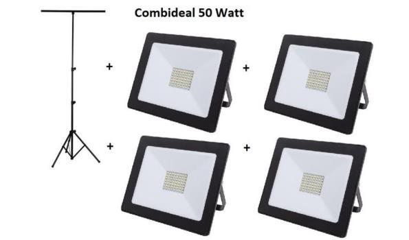 Statief + 4 LED stralers 50 watt