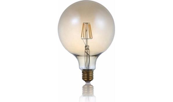 LED lamp E27, 4 watt, filament, globe, amber, 5x