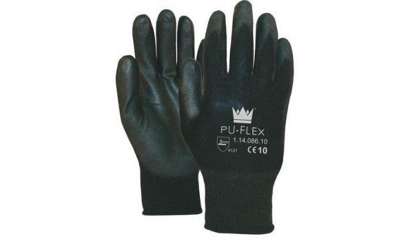 Werkhandschoenen PU flex zwart, 12 paar