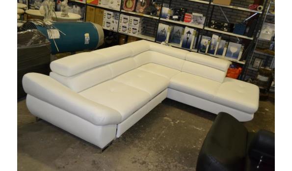 Hoekbank Leer Lounge.Lounge Hoekbank Met Slaapfunctie 3 L Wit Eco Leder Proveiling Nl