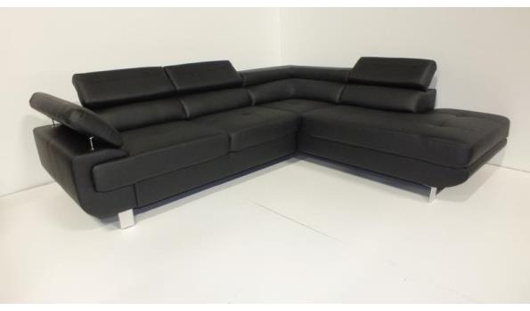 Hoekbank Slaapfunctie Leer.Lounge Hoekbank 3 L Zwart Eco Leder Met Slaapfunctie Proveiling Nl