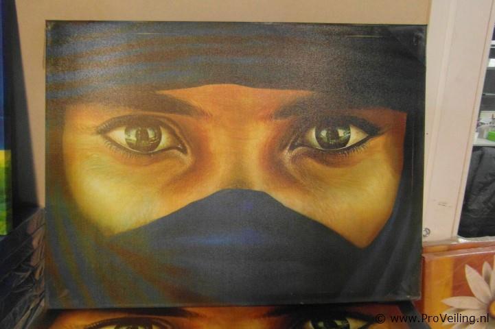 1 stuks terras schilderij gespannen op houten frame afbeelding vrouw met hoofddoek ca 80x60cm - Gespannen terras ...