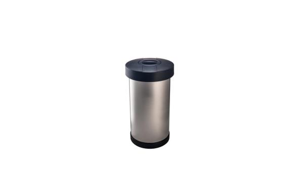 Zwart Rvs Prullenbak.Plettum Rvs Afvalbak Zwart Deksel 60 Liter 21830zw Inclusief Plettum