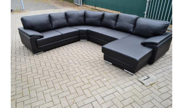 Hoekbank Zwart Leer.100 Leer U Hoekbank 2 Hoek 2 Lounge Zwart Proveiling Nl