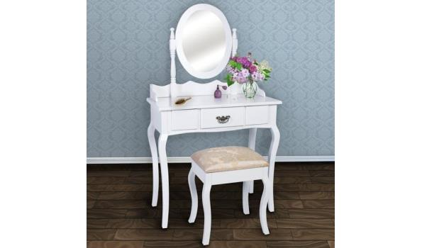 Verbazingwekkend Make-up tafel/kaptafel incl. kruk en spiegel | ProVeiling.nl NW-68
