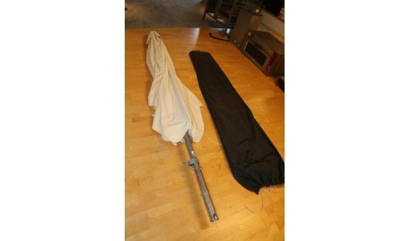 Parasol wit met hoes - totale lengte 300cm