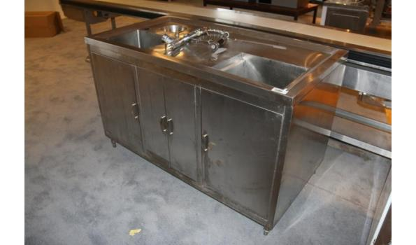 RVS spoeltafel - 150x80x92cm