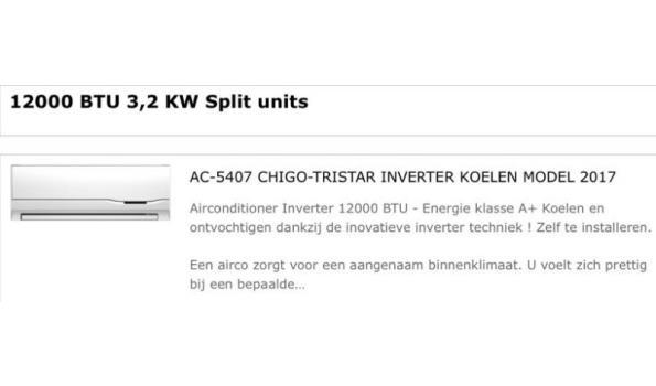 Tristar/Chigo Split Level Airco