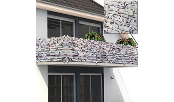 Scherm voor balkon / tuinhek 5m steen / muur (1101561)