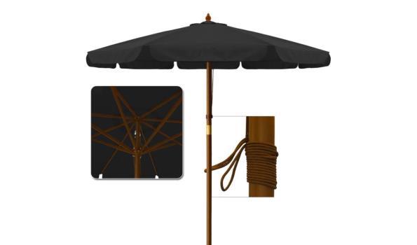 Houten parasol - Ø 350cm zwart (1102491)