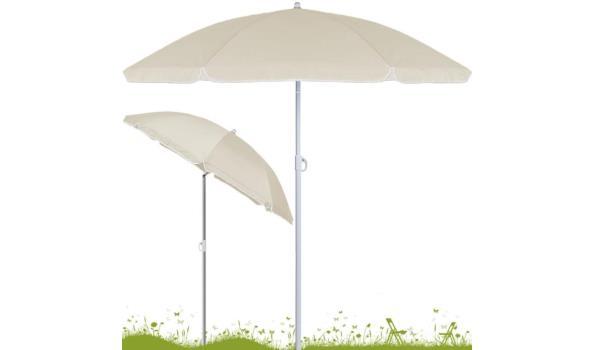 Strandparasol 200 cm verstelbaar + kantelbaar beige  (1102639)