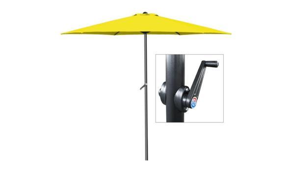 Alu parasol - Ø 300cm - met zwengel geel (1102495)