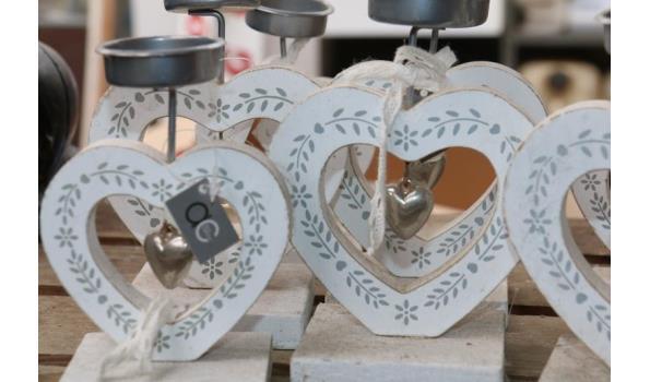 Theelicht standaard in met houten hart
