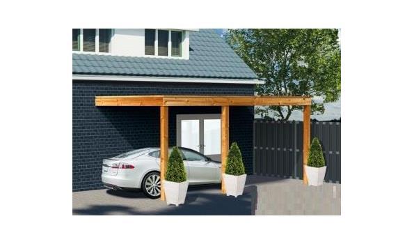 Complete aanbouwveranda/carport platdak, Douglas FSC 300 x 600 cm