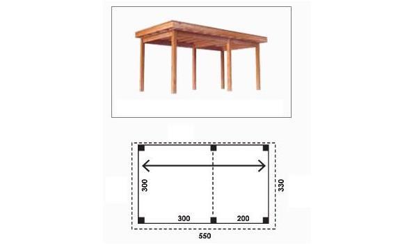 Complete tuinveranda/carport platdak, Douglas FSC 300 x 500 cm