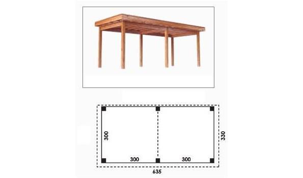 Complete tuinveranda/carport platdak, Douglas FSC 300 x 600 cm