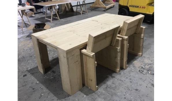 Steigerhouten tuinset tafel stoelen en bank