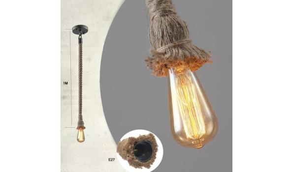 Plafond lampen vintage touw 2 stuks