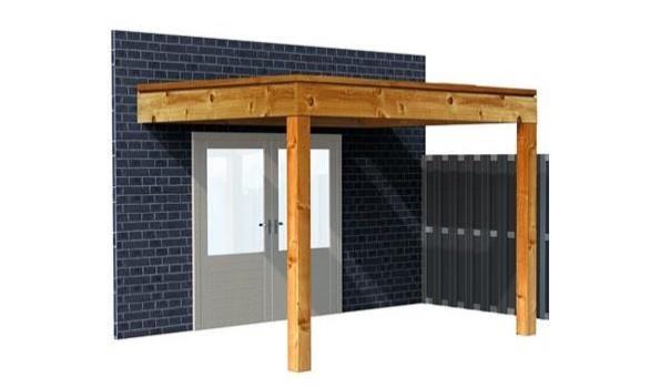 Complete aanbouwveranda/carport platdak, Douglas FSC 300 x 500 cm
