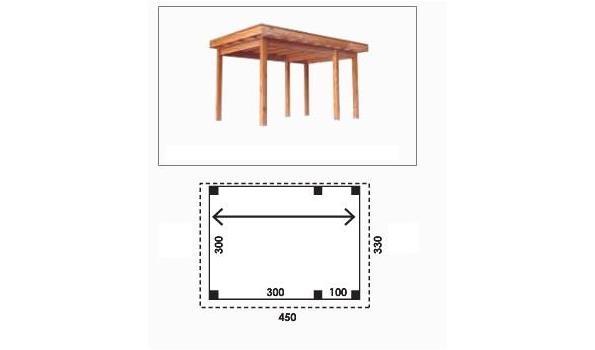 Complete tuinveranda/carport platdak, Douglas FSC 300 x 400 cm