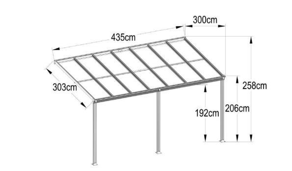 Veranda aluminium 9001 met polycarbonaatplaten Helder