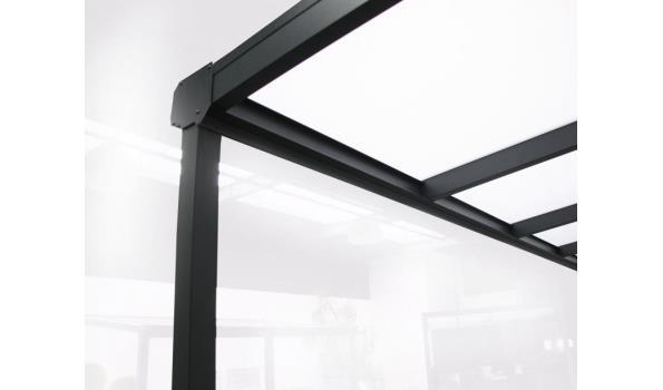 Veranda aluminium RAL 7024 met polycarbonaatplaten Helder of Opaal