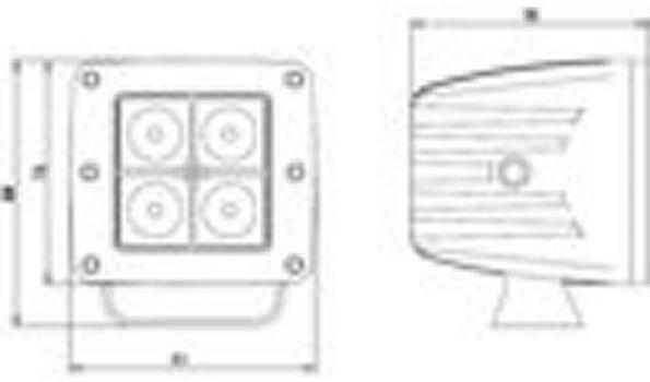 LED Schijnwerper / verstraler 12 volt 4x