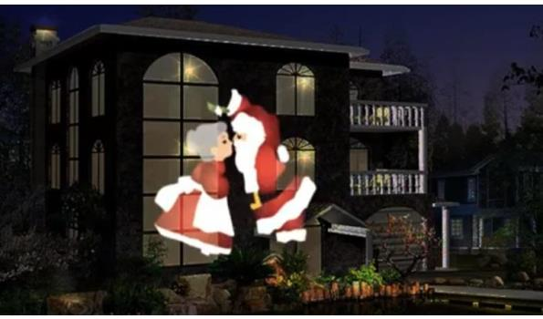 Kerst animatie lamp met bewegende beelden op wand of gevel