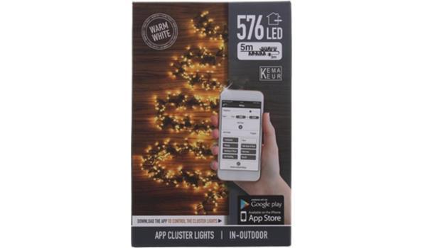 Kerstverlichting met 576 geclusterde leds met WiFi op afstand bedienbaar via app
