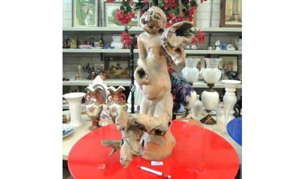 Uniek versteend Hibiscushouten sculptuur, Gesigneerd