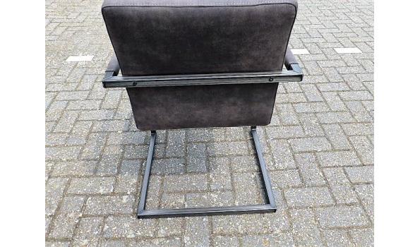 Eetkamer stoelen, leer/metaal, dark grey 4x
