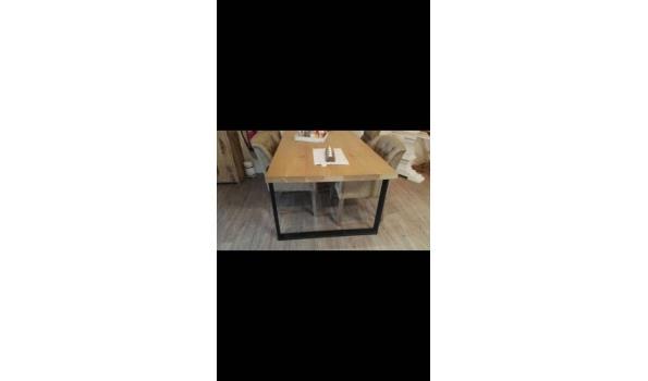 Eiken tafel met industrieële poten, zwart, 300 x 100 cm