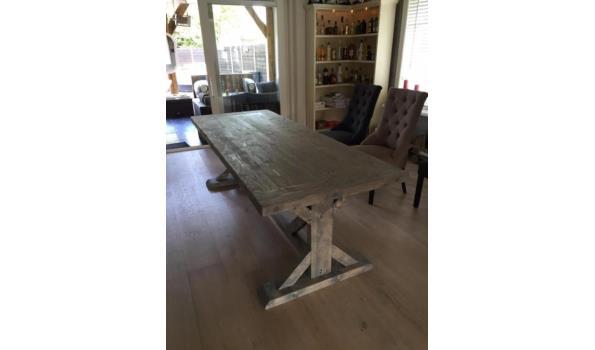 Kloostertafel Lodewijk 14®, grenen, eiken look grijs, 240 x 91 cm