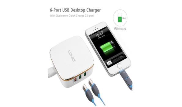 Stekkerdoos 6 USB Poort - Wit (designe)