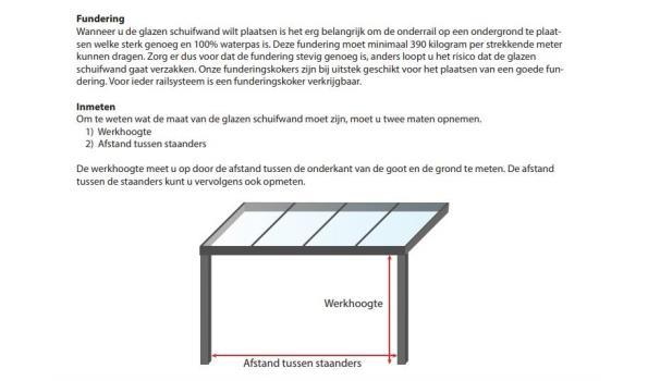 Glazen schuifdeursysteem 5 deurs, veiligheidsglas 10 mm, 4900mm breed, 2250mm hoog, crémewit RAL9001
