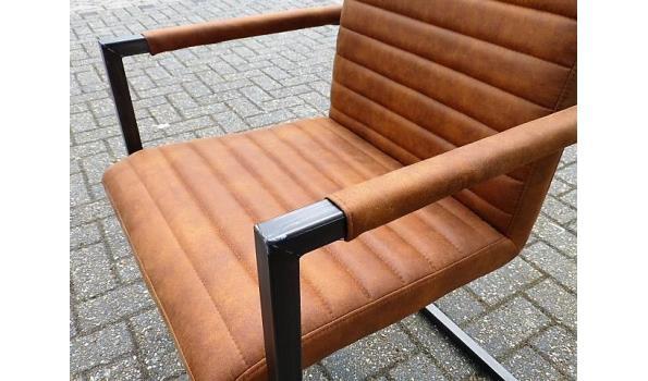 Eetkamer stoelen, Industrial Metall/Cognac, 4x