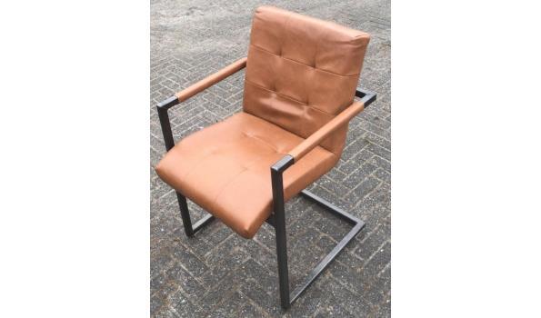 Eetkamer stoel, Industrial Metall/Cognac