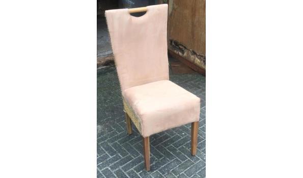 Eetkamer stoelen riet / stof, 4x