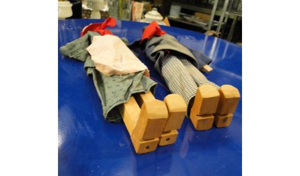 Set van 2 oude houten poppen