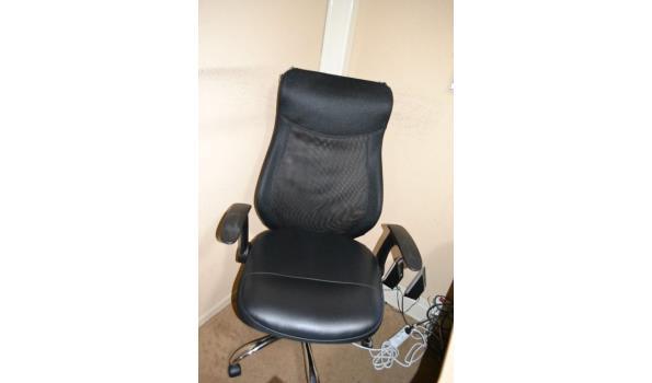 Bureaustoel, zwart (skai) leder